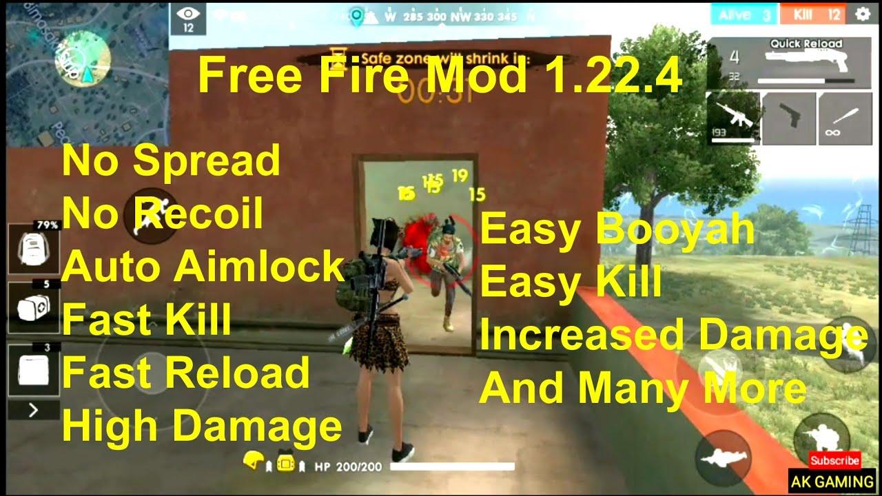 Free Fire Mod 1 22 4 Hack No Spread Auto Lock No Recoil No White Bodies By