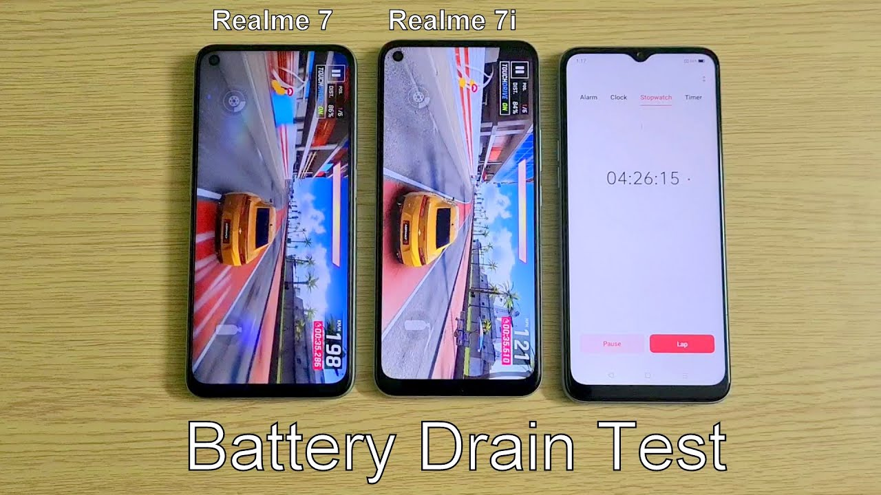 Realme 7 vs Realme 7i Battery Drain Test (60Hz Refresh Rate)
