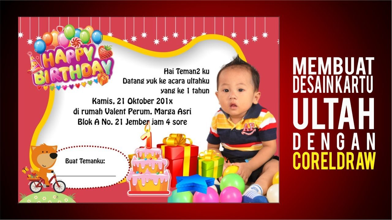 Cara Membuat Design Undangan Ulang Tahun Tutorial Birthday Card With Coreldraw