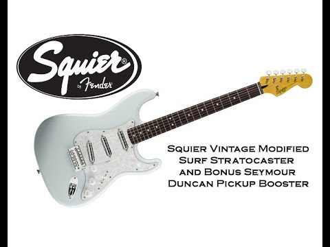 squier vintage modified surf strat w s duncan pickup booster youtube. Black Bedroom Furniture Sets. Home Design Ideas