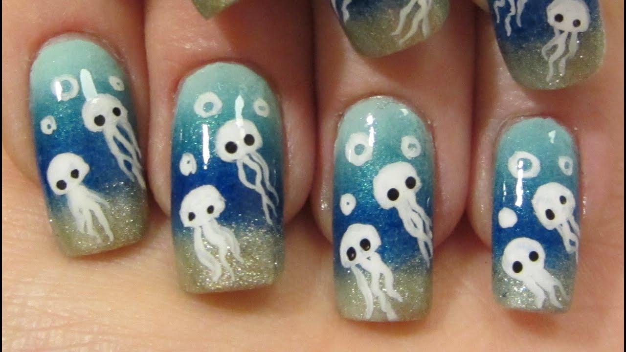 Cute Ocean Inspired Underwater Jellyfish Design Nail Art Tutorial