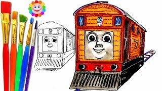 How to Draw Toby the Tram Engine ♦ Thomas and Friends ♦ Drawing  Colors Learning videos for Children