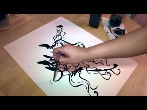 Black & White Jellyfish – Automatic Drawing -Sumi Ink on watercolor paper 18×24″