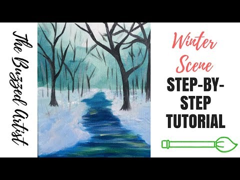 Acrylic Winter Landscape Painting on Canvas | Step-by-Step Acrylic Tutorial for Beginners