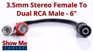 3.5mm Stereo Female To Dual RCA Male Adapter #936