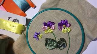 Анютины глазки вышитые лентами / Pansy embroidered ribbons