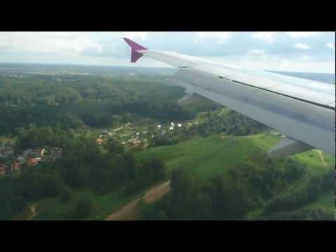 Landing in Vilnius airport, A320, Wizzair