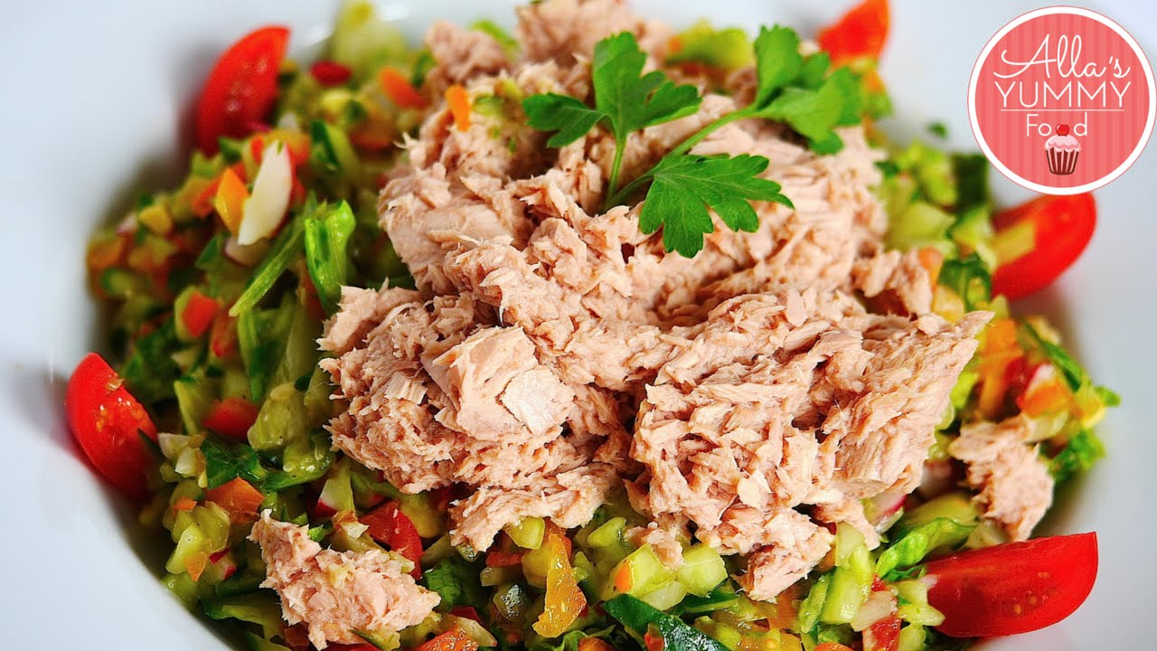 How To Make Tuna Salad Quick Healthy Salad Recipe Ovoshnoj Salat S Tuncom Youtube