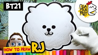 HOW TO DRAW RJ FROM BT21 | Best BT21 Members Easy Drawing | BTS and LINE FRIENDS | BLABLA ART