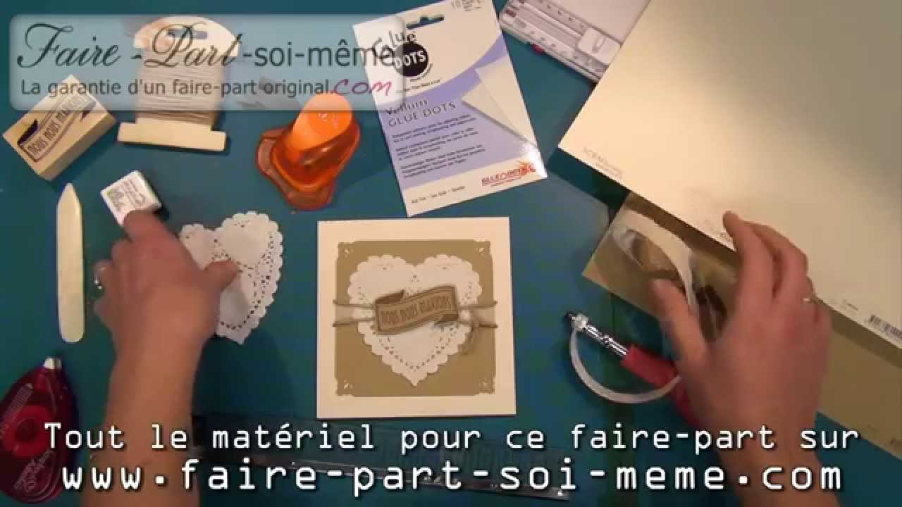 faire part de mariage shabby chic coeur youtube. Black Bedroom Furniture Sets. Home Design Ideas