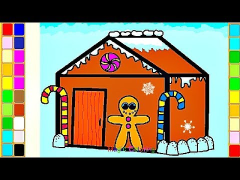 Christmas Gingerbread House – Learn to Color – Drawing and Painting Videos for Kids