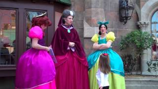 Holly meeting Cinderella's wicked step mother and step sisters at Disney
