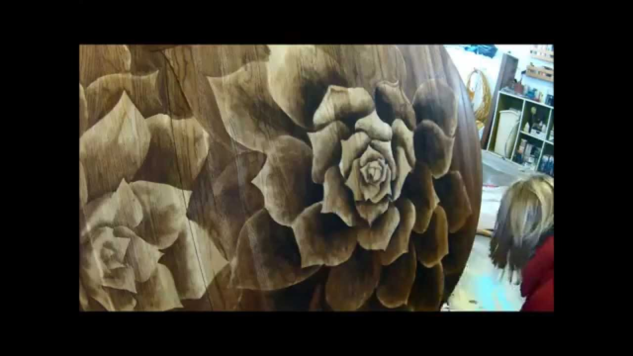 Wood Stain Artwork On Dining Table Succulents Shading With By Sawdust And Embryos