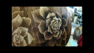 Wood Stain Artwork on Dining Table (Succulents) 'Shading with Stain' by Sawdust and Embryos