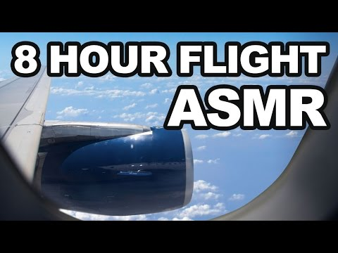 ASMR 8-HOUR AIRPLANE FLIGHT Animated Scenery, Take Off, Landing, Ding Sounds, Ambient, White Noise