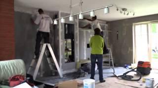 Timelapse installatie van een gashaard compleet met schrijnwerkerij,...