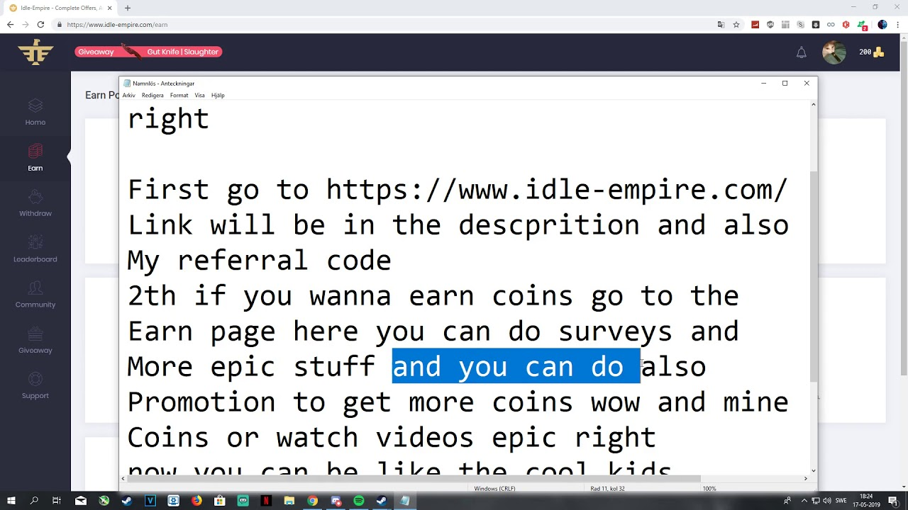 Idle-Empire Best Game Skins Website in the world (free csgo knife)