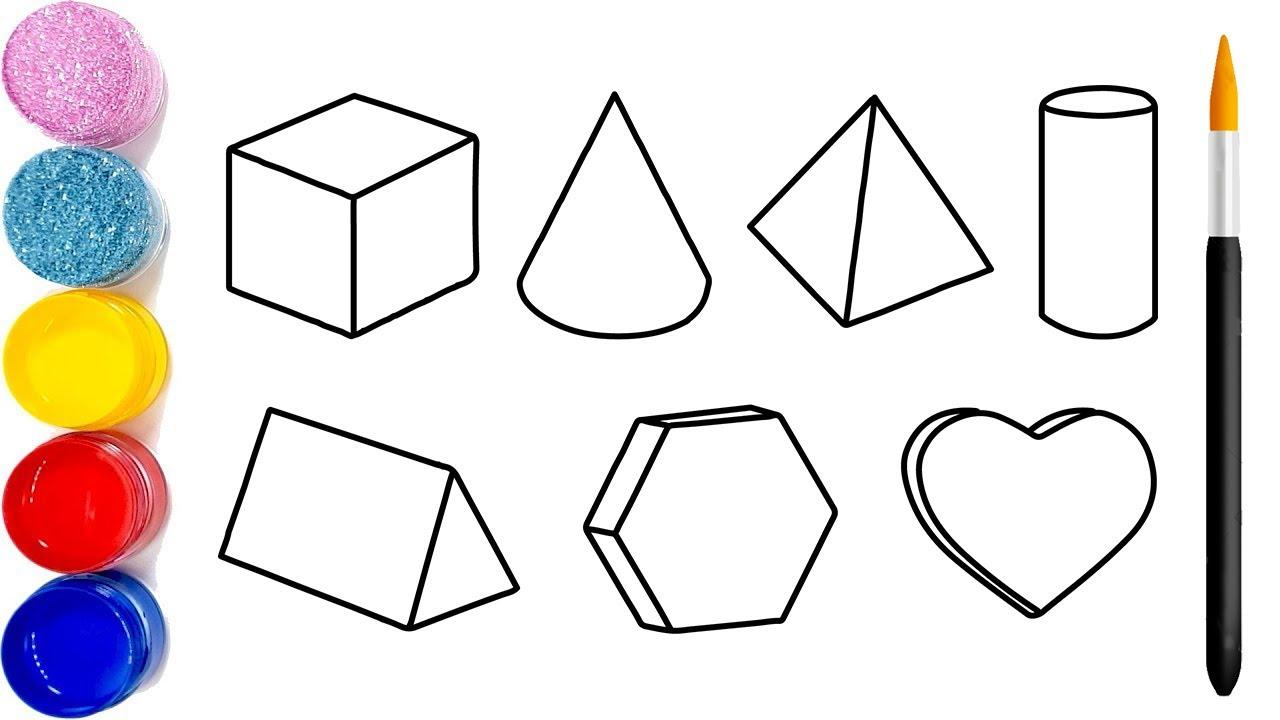 Vẽ hình khối 3D đơn giản và tô màu cho bé   Menggambar dan mewarnai Kubus 3D  3D Cube Coloring Pages