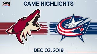 NHL Highlights | Coyotes vs. Blue Jackets - Dec. 03, 2019