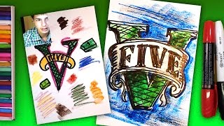 How to draw a logo GTA 5 / Grand Theft Auto V Art / Art for Kids