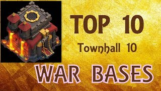 Top10 Best TH10 War Bases 2017 !!!  Anti Valkyrie | Bowlers | Miners