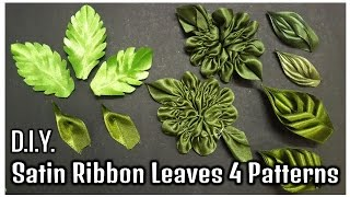 D.I.Y. Satin Ribbon Leaves – 4 Patterns