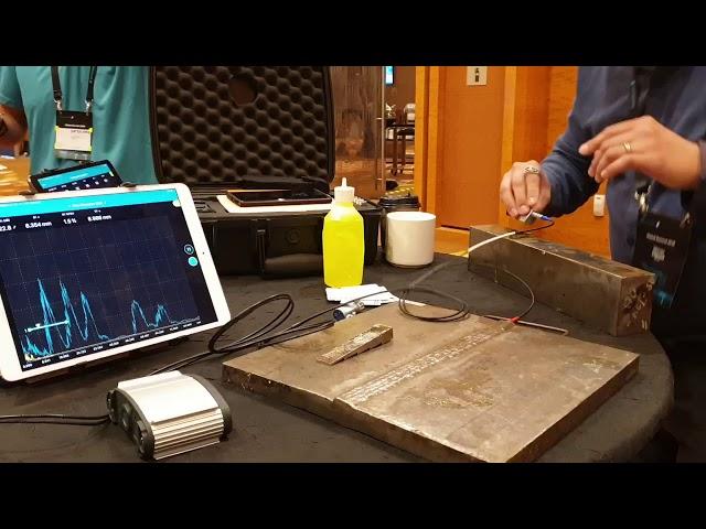 Warren Thomas, from Henderson Thomas Associates Limited, testing the new Proceq UT8000