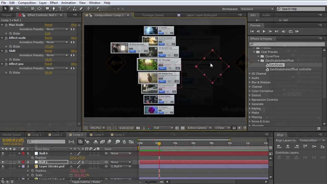 Использование выражений в After Effects. Эффект Cover Flow - AEplug 005