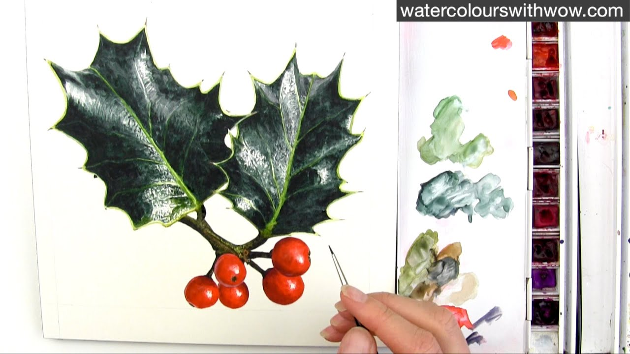 How to paint realistic holly leaves for your christmas for Painted christmas cards