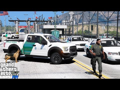 GTA 5 LSPDFR #498 | Border Patrol K9 Unit Searching For Drugs | United States / Canadian Border