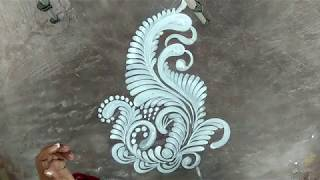 ALPONA WITH BRUSH EFFECT/FREEHAND ALPONA DESIGNS/SIMPLE KOLAM DESIGNS/SOUTH INDIAN RANGOLI DESIGNS