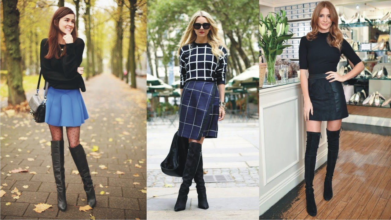 Look - Length Knee skirts with boots pictures video