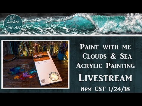 Paint Clouds & Sea with me - Acrylic Painting livestream w/ Lachri