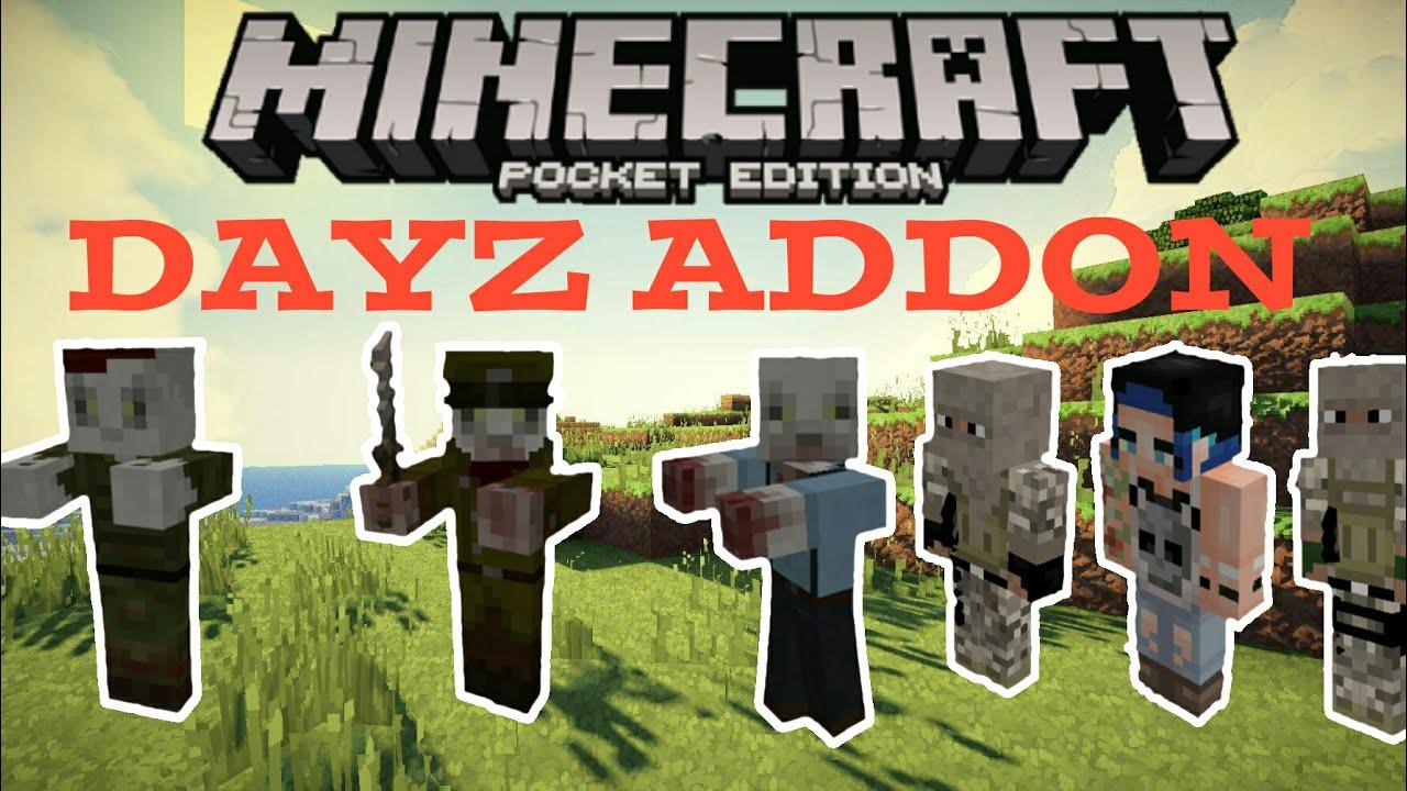 Minecraft Pocket Edition ZOMBIE APOCALYPSE DayZ Addon Review