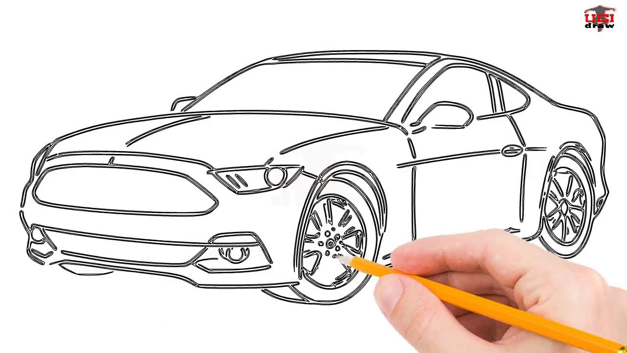 How To Draw A Mustang Car Step By Easy For Beginners Kids Simple Mustangs Drawing Tutorial