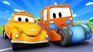 Le Lavage Auto de Tom la Dépanneuse -  Steve le rouleau compresseur - Dessin animé de camions