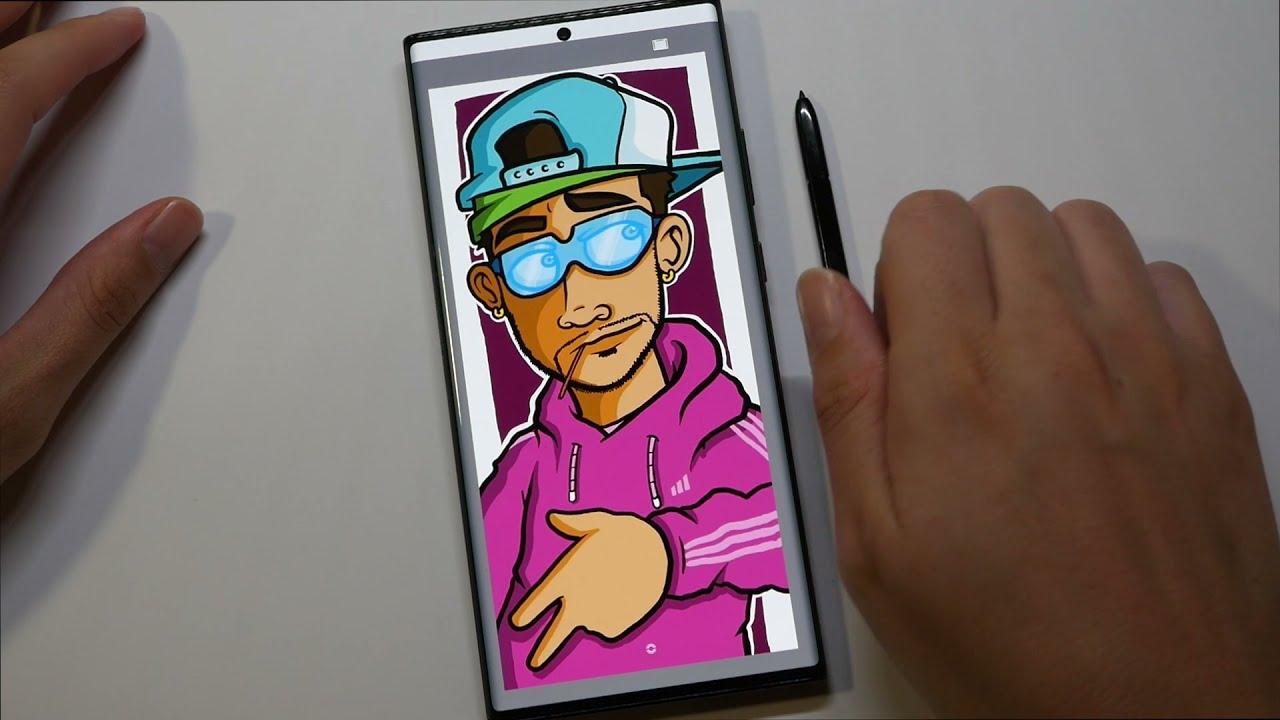 Penup vs Autodesk Sketchbook app - Graffiti Character on Samsung Note 20 Ultra