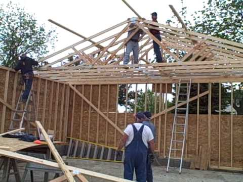 Trusses for the garage youtube for Roof trusses installation