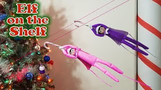 Purple & Pink Elf on the Shelf - Caught Flying Down Zipline! Day 28