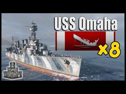OMAHA 8 KILLS 9 CITADELS - World of Warships