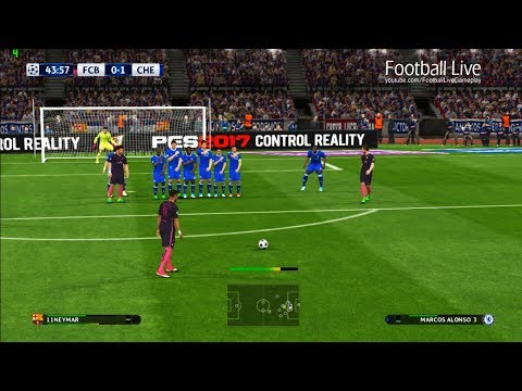 PES 2017 | FC Barcelona vs Chelsea FC | Neymar Free Kick Goal & Full Match | UEFA Champions League