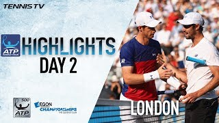 Watch highlights from Day 2 in London as Andy Murray, Stan Wawrinka...