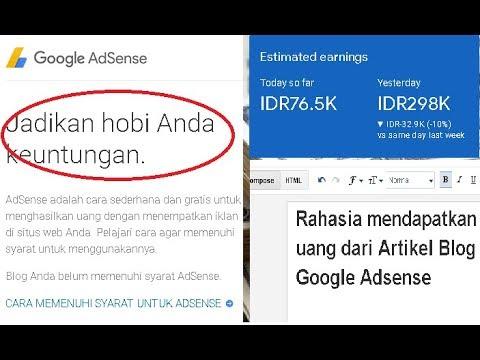 Rahasia mendapatkan uang dari Artikel Blog Google Adsense