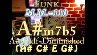 A#m7b5 Half-Diminished (A# C# E G#) One Chord Backing Track - Funk M.M.=110