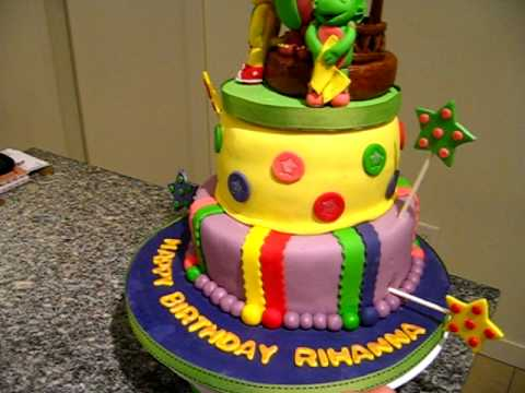 Barney and Friends Fondant Birthday Cake YouTube