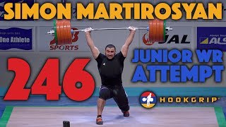 Simon Martirosyan (113.45) - 246kg Clean and Jerk Junior World Record Attempt [Front View, 4k]