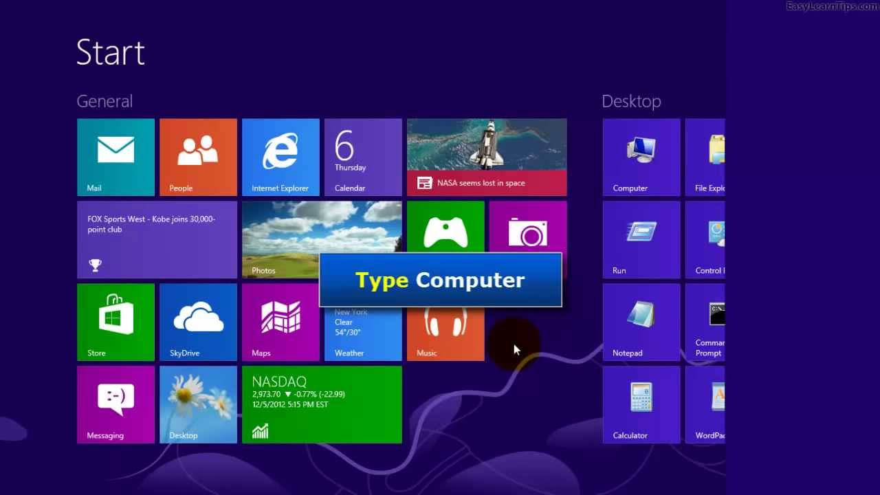 Windows 8 computer - Windows 8 Four Ways To Open My Computer Using Mouse Keyboard