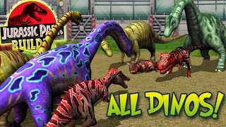 ALL MAXED DINOSAURS SPECIAL + STATS! - Jurassic Park Builder | HD