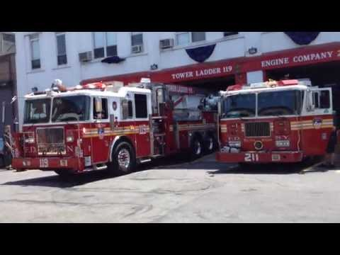 FDNY Tower Ladder 119 backing in to quarters a day after Lt. Ambeles Funeral
