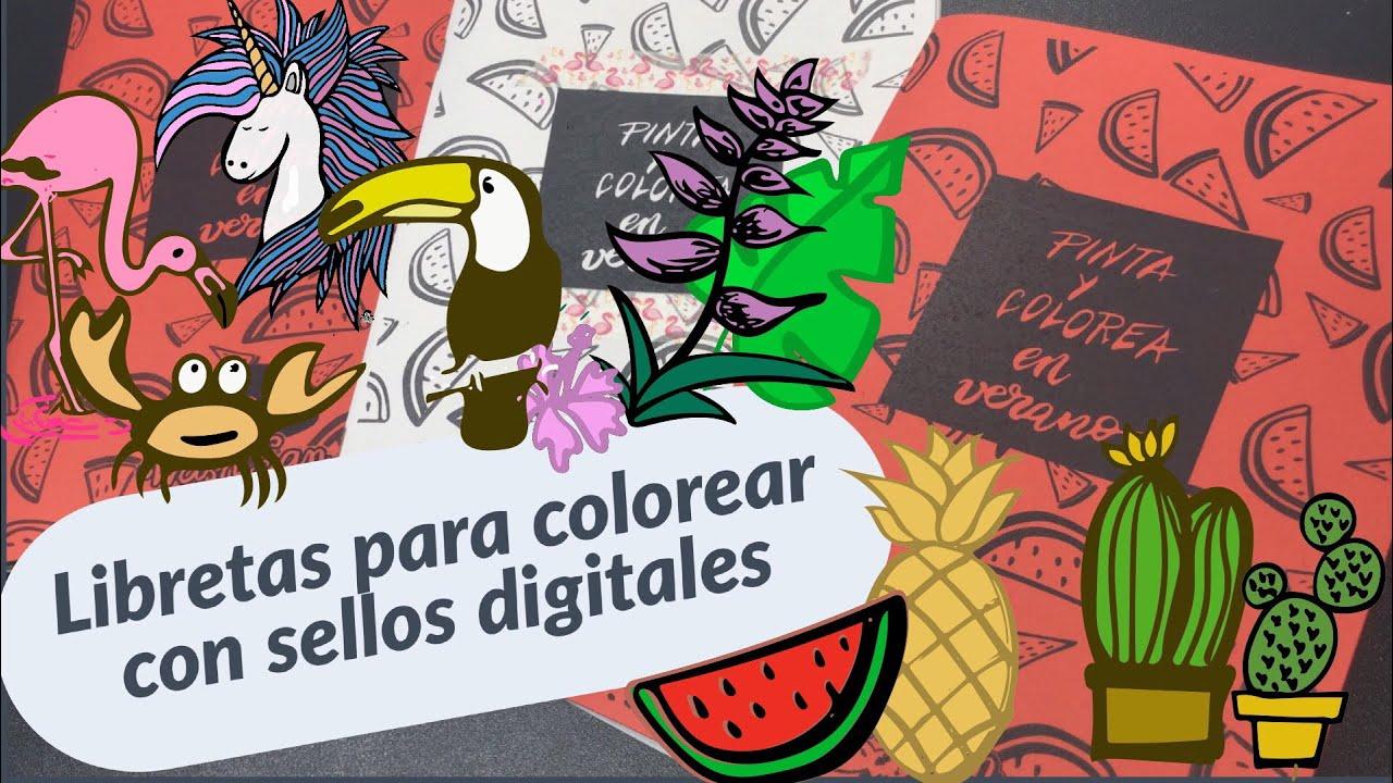 Libretas para colorear y sellos digitales de verano descargables ...